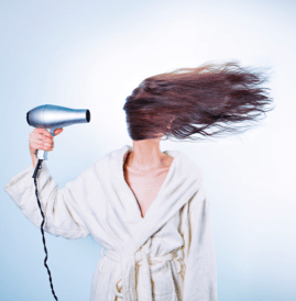 lady hair drying