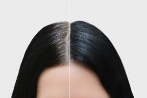 Black Hair Dye before and after