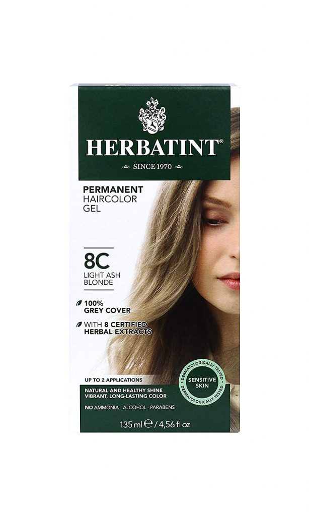 Herbatint Permanent Haircolor Gel, 8C Light Ash Blonde