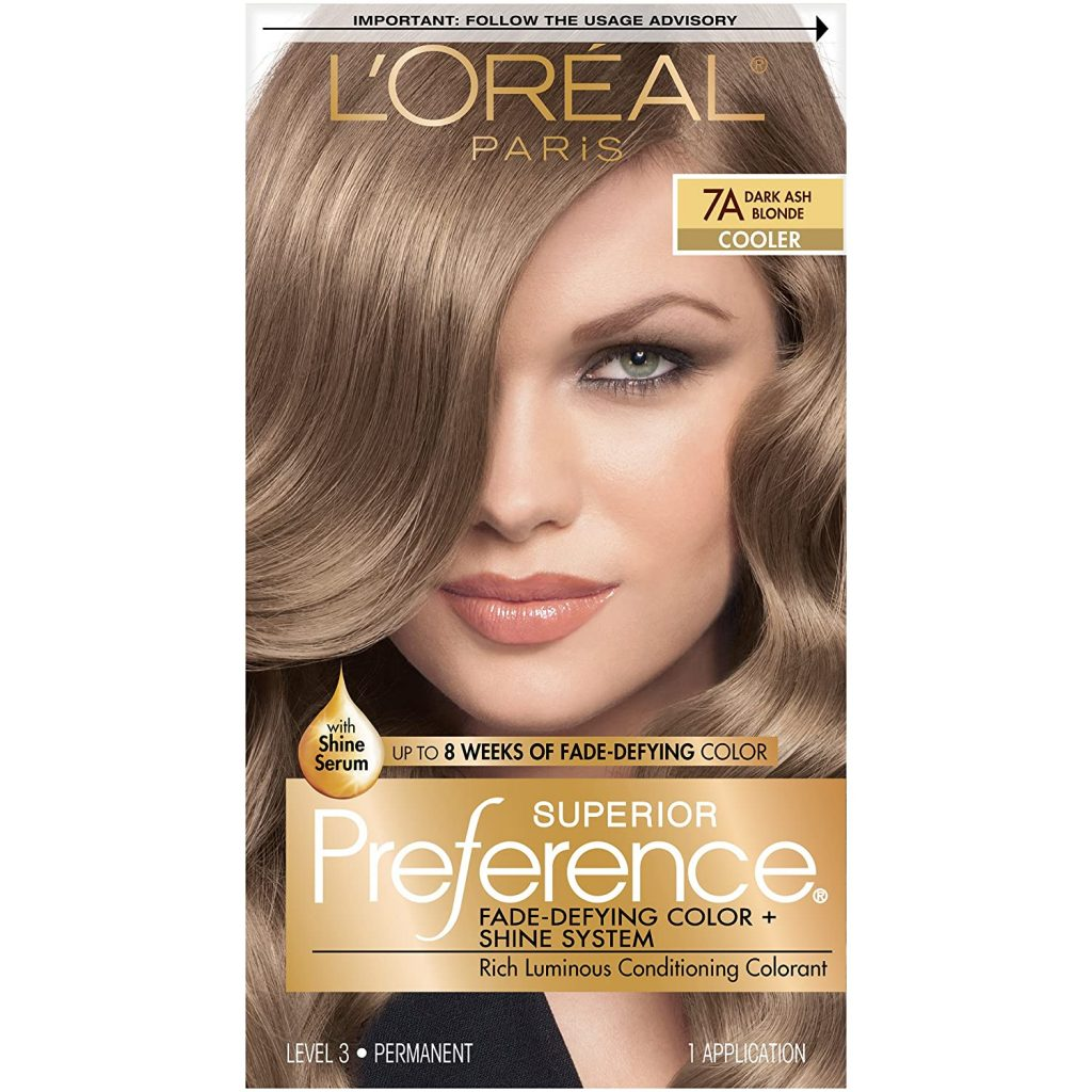 L'Oreal Paris Superior Preference Fade-Defying + Shine Permanent Hair Color, 7A Dark Ash Blonde