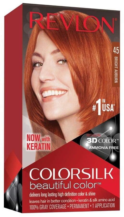 Revlon Colorsilk Beautiful Color, Permanent Hair Dye with Keratin, 45 Bright Auburn