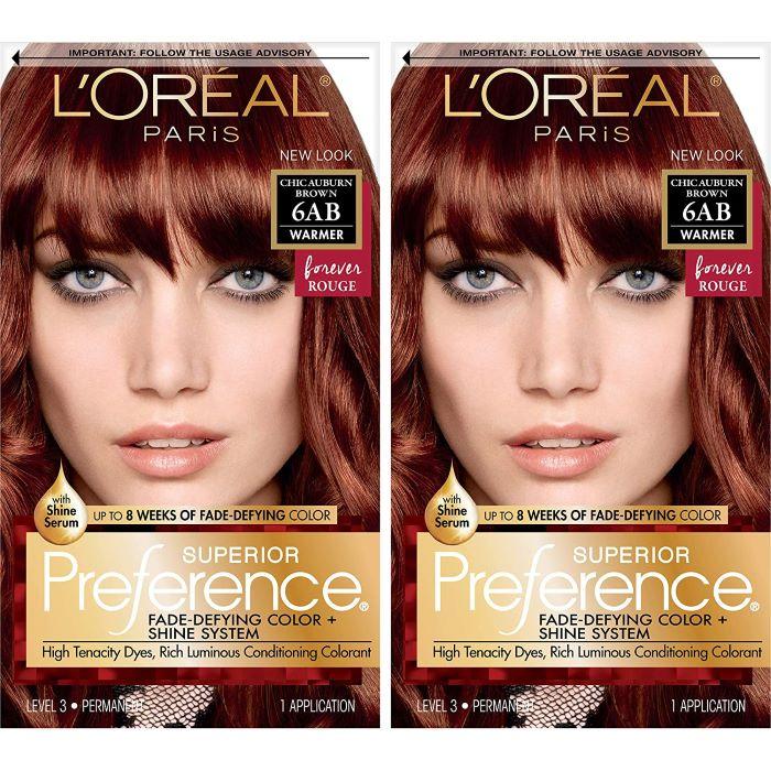 L'Oreal Paris Superior Preference Permanent Hair Color, 6ab Chic Auburn Brown