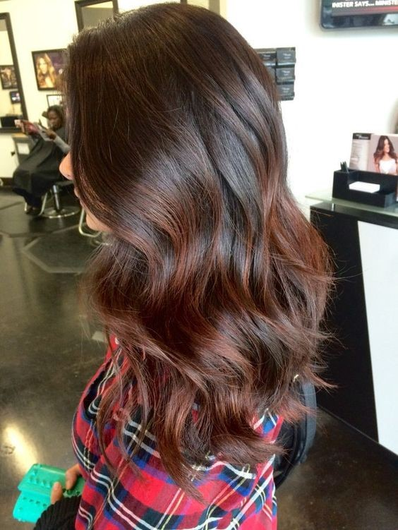 Brown hair with subtle red highlights