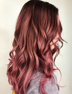 Brunette with rose red highlights