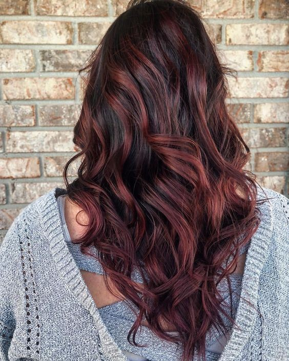 Chocolate brown hair with burgundy highlights