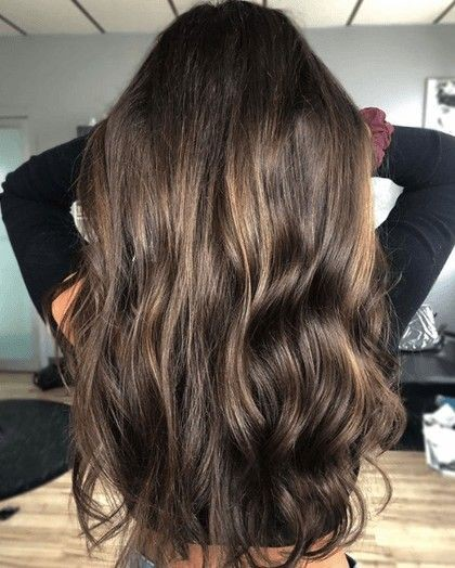 Dark brown hair with two tone highlights