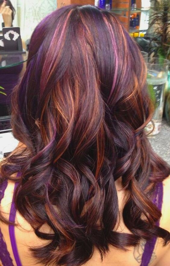 Dark hair with multicolored highlights
