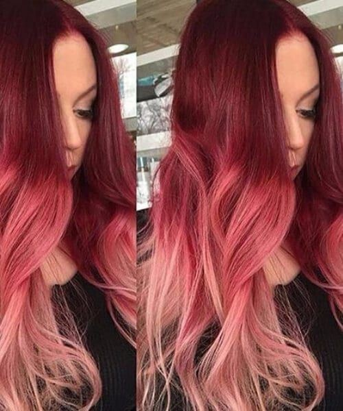 Dark hair with red and peach ombre