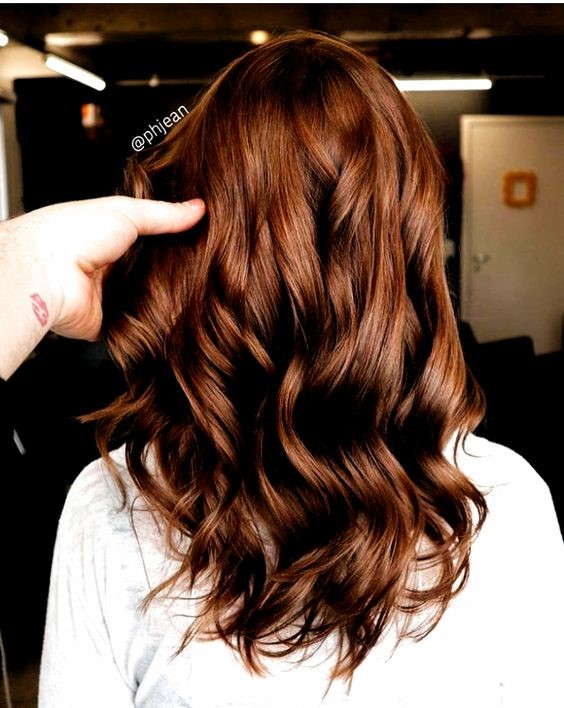 Medium brown hair with light copper highlights
