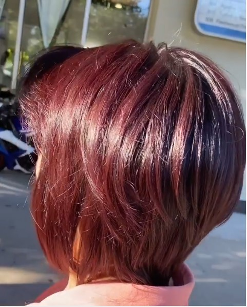 Red violet mahogany in a pixie cut