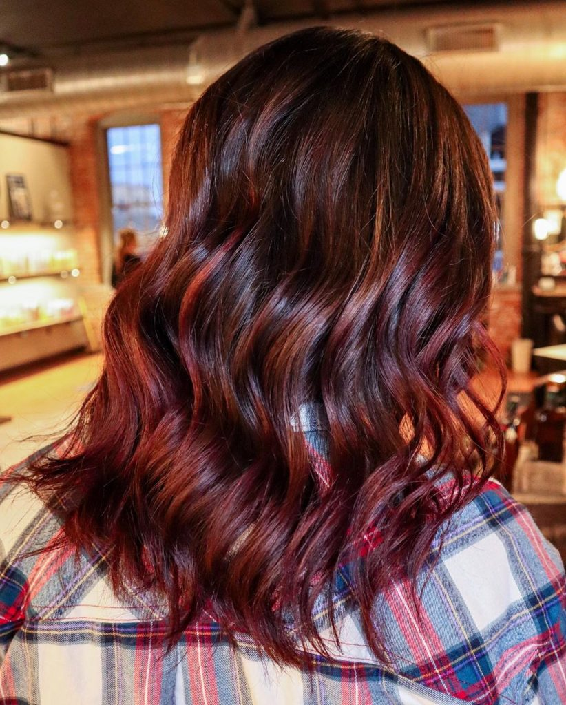 Rich red mahogany + copper highlights