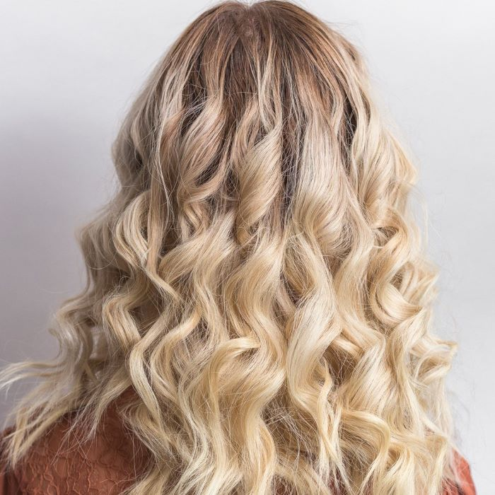 Styled hair using a bubble curling wand
