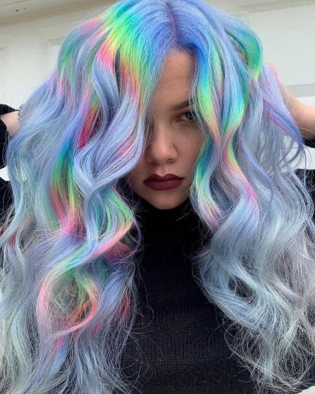 Holographic rainbow hair
