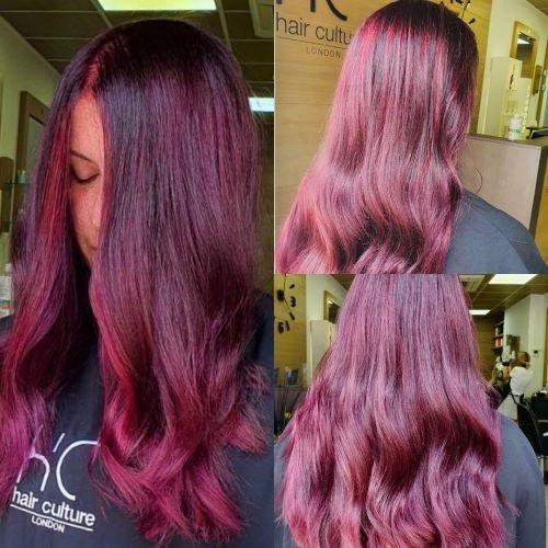 strawberry burgundy balayage